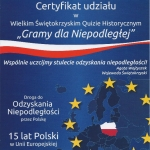 Certyfikat - Gramy dla Niepodległej