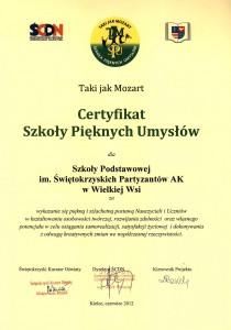 Certyfikat Szkoły Pięknych Umysłów