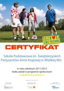 Certyfikat - Szkoła bez przemocy