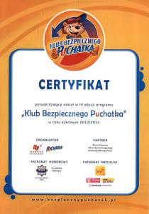 Certyfikat - Klub Bezpiecznego Puchatka